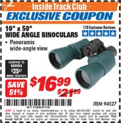 Harbor Freight ITC Coupon 10 X 50 WIDE ANGLE BINOCULARS Lot No. 94527 Dates Valid: 12/31/69 - 5/31/19 - $16.99