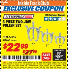 Harbor Freight ITC Coupon 3 PIECE TWO JAW PULLER SET Lot No. 40966 Expired: 1/31/19 - $22.99
