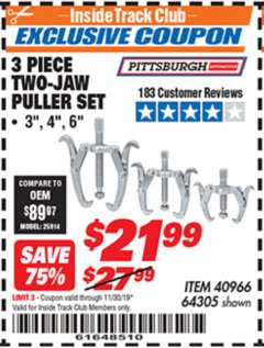 Harbor Freight ITC Coupon 3 PIECE TWO JAW PULLER SET Lot No. 40966 Expired: 11/30/19 - $21.99