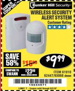 Harbor Freight Coupon WIRELESS SECURITY ALERT SYSTEM Lot No. 61910 / 62447 / 90368 Expired: 6/2/18 - $9.99