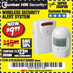 Harbor Freight Coupon WIRELESS SECURITY ALERT SYSTEM Lot No. 61910 / 62447 / 90368 Expired: 9/10/18 - $9.99