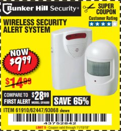 Harbor Freight Coupon WIRELESS SECURITY ALERT SYSTEM Lot No. 61910 / 62447 / 90368 Expired: 11/10/18 - $9.99