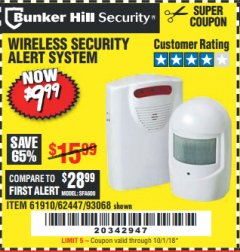 Harbor Freight Coupon WIRELESS SECURITY ALERT SYSTEM Lot No. 61910 / 62447 / 90368 Expired: 10/1/18 - $9.99