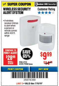 Harbor Freight Coupon WIRELESS SECURITY ALERT SYSTEM Lot No. 61910 / 62447 / 90368 Expired: 7/15/18 - $9.99