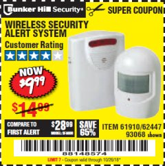 Harbor Freight Coupon WIRELESS SECURITY ALERT SYSTEM Lot No. 61910 / 62447 / 90368 Expired: 10/26/18 - $9.99
