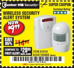 Harbor Freight Coupon WIRELESS SECURITY ALERT SYSTEM Lot No. 61910 / 62447 / 90368 Expired: 12/10/18 - $9.99
