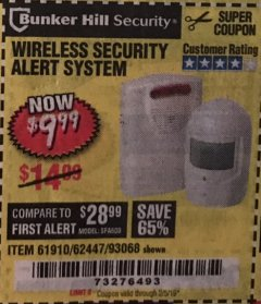 Harbor Freight Coupon WIRELESS SECURITY ALERT SYSTEM Lot No. 61910 / 62447 / 90368 Expired: 2/5/19 - $9.99