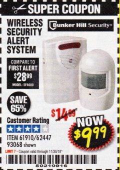 Harbor Freight Coupon WIRELESS SECURITY ALERT SYSTEM Lot No. 61910 / 62447 / 90368 Expired: 11/30/18 - $9.99