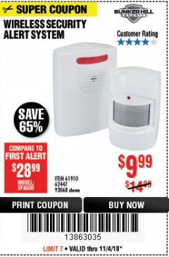 Harbor Freight Coupon WIRELESS SECURITY ALERT SYSTEM Lot No. 61910 / 62447 / 90368 Expired: 11/4/18 - $9.99