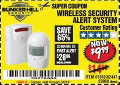 Harbor Freight Coupon WIRELESS SECURITY ALERT SYSTEM Lot No. 61910 / 62447 / 90368 Expired: 5/6/19 - $9.99