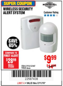 Harbor Freight Coupon WIRELESS SECURITY ALERT SYSTEM Lot No. 61910 / 62447 / 90368 Expired: 2/11/19 - $9.99