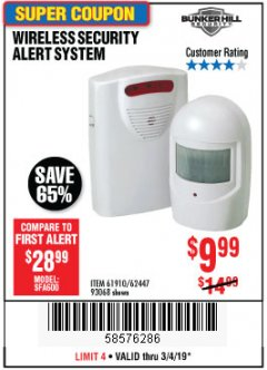 Harbor Freight Coupon WIRELESS SECURITY ALERT SYSTEM Lot No. 61910 / 62447 / 90368 Expired: 3/4/19 - $9.99