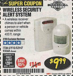 Harbor Freight Coupon WIRELESS SECURITY ALERT SYSTEM Lot No. 61910 / 62447 / 90368 Expired: 4/30/19 - $9.99