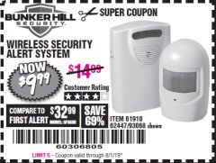 Harbor Freight Coupon WIRELESS SECURITY ALERT SYSTEM Lot No. 61910 / 62447 / 90368 Expired: 8/1/19 - $9.99