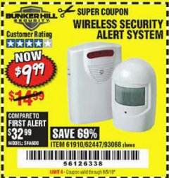 Harbor Freight Coupon WIRELESS SECURITY ALERT SYSTEM Lot No. 61910 / 62447 / 90368 Expired: 8/5/19 - $9.99