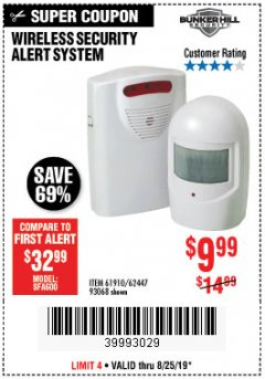 Harbor Freight Coupon WIRELESS SECURITY ALERT SYSTEM Lot No. 61910 / 62447 / 90368 Expired: 8/25/19 - $9.99