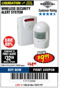 Harbor Freight Coupon WIRELESS SECURITY ALERT SYSTEM Lot No. 61910 / 62447 / 90368 Expired: 10/31/19 - $9.99
