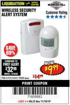Harbor Freight Coupon WIRELESS SECURITY ALERT SYSTEM Lot No. 61910 / 62447 / 90368 Expired: 11/10/19 - $9.99