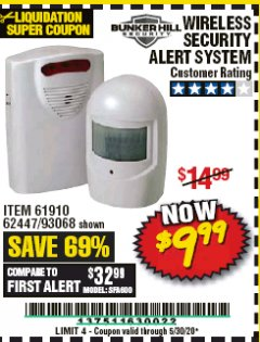 Harbor Freight Coupon WIRELESS SECURITY ALERT SYSTEM Lot No. 61910 / 62447 / 90368 Valid Thru: 6/30/20 - $9.99
