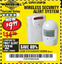 Harbor Freight Coupon WIRELESS SECURITY ALERT SYSTEM Lot No. 61910 / 62447 / 90368 Valid Thru: 6/28/20 - $9.99