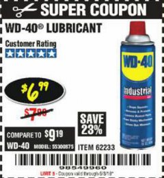 Harbor Freight Coupon 16 OZ WD-40 LUBRICANTS Lot No. 35985/62233 EXPIRES: 6/3/19 - $6.99