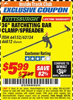 "Harbor Freight ITC Coupon 36"" RATCHETING BAR CLAMP/SPREADER Lot No. 46812/62124 Expired: 8/31/18 - $5.99"
