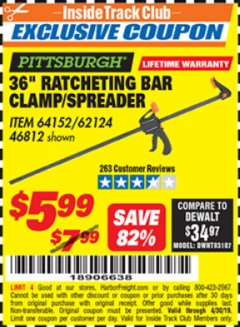 "Harbor Freight ITC Coupon 36"" RATCHETING BAR CLAMP/SPREADER Lot No. 46812/62124 Expired: 4/30/19 - $5.99"