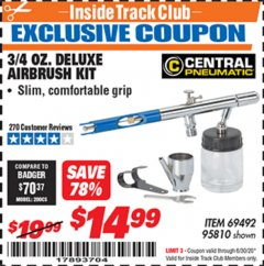 Harbor Freight ITC Coupon 3/4 OZ. DELUXE AIRBRUSH KIT Lot No. 69492/95810 Dates Valid: 12/31/69 - 6/30/20 - $14.99