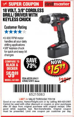 "Harbor Freight Coupon 18 VOLT CORDLESS 3/8"" DRILL/DRIVER WITH KEYLESS CHUCK Lot No. 68239/69651/62868/62873 Expired: 7/31/18 - $15.99"