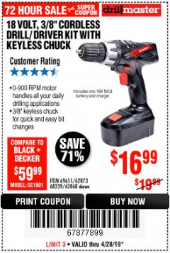 "Harbor Freight Coupon 18 VOLT CORDLESS 3/8"" DRILL/DRIVER WITH KEYLESS CHUCK Lot No. 68239/69651/62868/62873 Expired: 4/28/19 - $16.99"