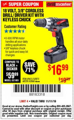 "Harbor Freight Coupon 18 VOLT CORDLESS 3/8"" DRILL/DRIVER WITH KEYLESS CHUCK Lot No. 68239/69651/62868/62873 Expired: 11/11/19 - $16.99"