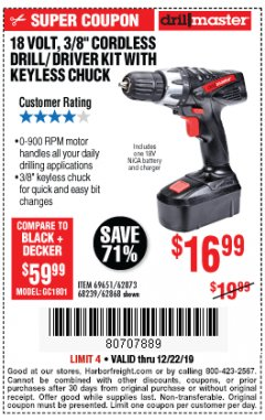 "Harbor Freight Coupon 18 VOLT CORDLESS 3/8"" DRILL/DRIVER WITH KEYLESS CHUCK Lot No. 68239/69651/62868/62873 Expired: 12/22/19 - $16.99"