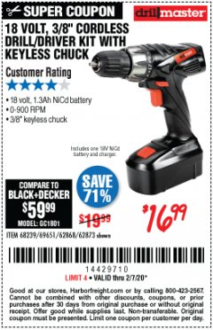 "Harbor Freight Coupon 18 VOLT CORDLESS 3/8"" DRILL/DRIVER WITH KEYLESS CHUCK Lot No. 68239/69651/62868/62873 Expired: 2/7/20 - $16.99"