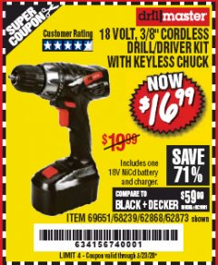 "Harbor Freight Coupon 18 VOLT CORDLESS 3/8"" DRILL/DRIVER WITH KEYLESS CHUCK Lot No. 68239/69651/62868/62873 Valid Thru: 6/30/20 - $16.99"
