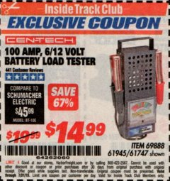 Harbor Freight ITC Coupon 100 AMP 6/12 VOLT BATTERY LOAD TESTER Lot No. 90636/61747/61945/69888 Expired: 7/31/19 - $14.99
