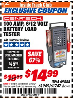Harbor Freight ITC Coupon 100 AMP 6/12 VOLT BATTERY LOAD TESTER Lot No. 90636/61747/61945/69888 Expired: 9/30/19 - $14.99