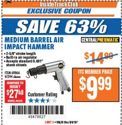 Harbor Freight ITC Coupon MEDIUM BARREL AIR IMPACT HAMMER  Lot No. 47868/61244/69866 Expired: 9/4/18 - $9.99