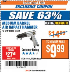 Harbor Freight ITC Coupon MEDIUM BARREL AIR IMPACT HAMMER  Lot No. 47868/61244/69866 Expired: 11/13/18 - $9.99