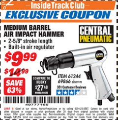 Harbor Freight ITC Coupon MEDIUM BARREL AIR IMPACT HAMMER  Lot No. 47868/61244/69866 Expired: 1/31/19 - $9.99