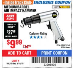 Harbor Freight ITC Coupon MEDIUM BARREL AIR IMPACT HAMMER  Lot No. 47868/61244/69866 Expired: 3/19/19 - $0