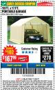 Harbor Freight Coupon 10 FT. x 17 FT. PORTABLE GARAGE Lot No. 69039/60727/62286/62860/63055/62864/62859 Expired: 11/22/17 - $167.99
