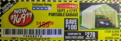 Harbor Freight Coupon 10 FT. x 17 FT. PORTABLE GARAGE Lot No. 69039/60727/62286/62860/63055/62864/62859 Expired: 8/18/18 - $169.99