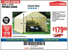 Harbor Freight Coupon 10 FT. x 17 FT. PORTABLE GARAGE Lot No. 69039/60727/62286/62860/63055/62864/62859 Expired: 6/24/18 - $179.99