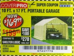 Harbor Freight Coupon 10 FT. x 17 FT. PORTABLE GARAGE Lot No. 69039/60727/62286/62860/63055/62864/62859 Expired: 10/30/18 - $169.99