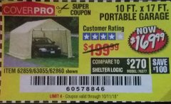 Harbor Freight Coupon 10 FT. x 17 FT. PORTABLE GARAGE Lot No. 69039/60727/62286/62860/63055/62864/62859 Expired: 10/11/18 - $169.99