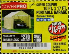 Harbor Freight Coupon 10 FT. x 17 FT. PORTABLE GARAGE Lot No. 69039/60727/62286/62860/63055/62864/62859 Expired: 12/21/18 - $169.99