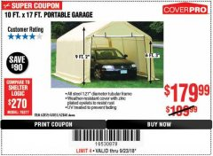 Harbor Freight Coupon 10 FT. x 17 FT. PORTABLE GARAGE Lot No. 69039/60727/62286/62860/63055/62864/62859 Expired: 9/23/18 - $179.99