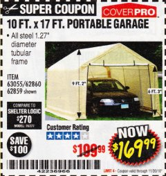 Harbor Freight Coupon 10 FT. x 17 FT. PORTABLE GARAGE Lot No. 69039/60727/62286/62860/63055/62864/62859 Expired: 11/30/18 - $169.99