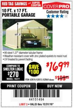 Harbor Freight Coupon 10 FT. x 17 FT. PORTABLE GARAGE Lot No. 69039/60727/62286/62860/63055/62864/62859 Expired: 12/31/18 - $169.99