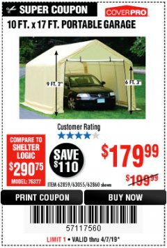 Harbor Freight Coupon COVERPRO 10 FT. X 17 FT. PORTABLE GARAGE Lot No. 69039/60727/62286/62860/63055/62864/62859 Expired: 4/7/19 - $179.99